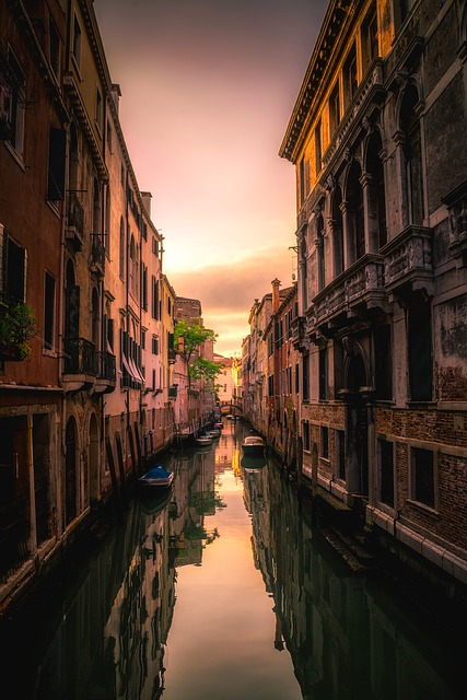 Venice, Italy, Sunset, Dusk, Sky, Clouds, Canal, Water