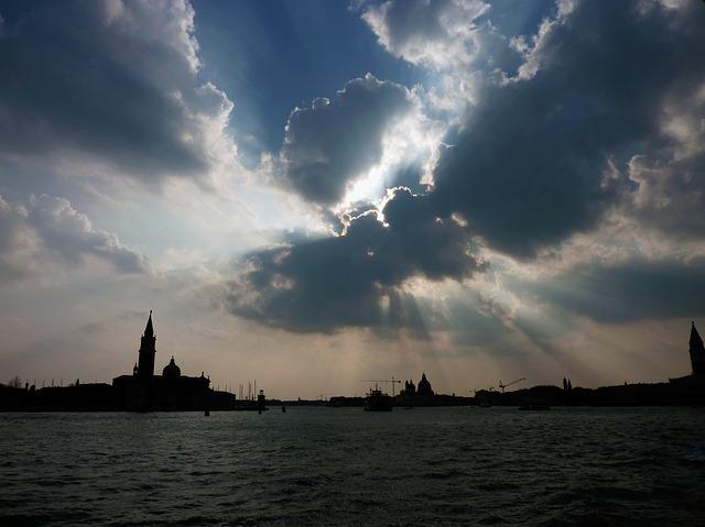 Italy, Venice, Water, Clouds, Sun, Twilight, Lagoon