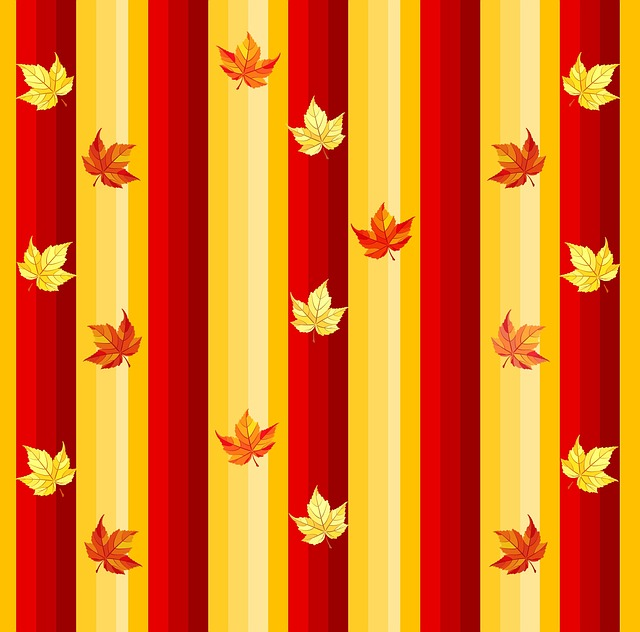 Autumn, Fall, Leaves, Vertical, Stripes, Orange