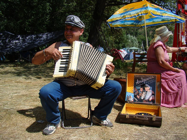 Accordion Player, Man, Accordion, Music, Umbrella, Vest
