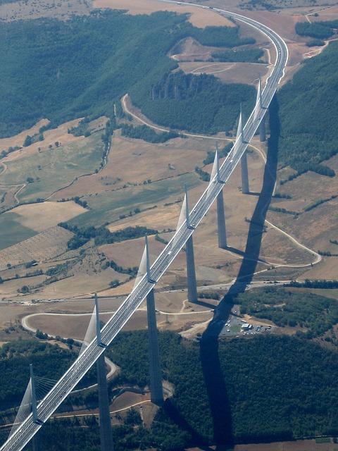 Viaduct, Millau, Plane View, France