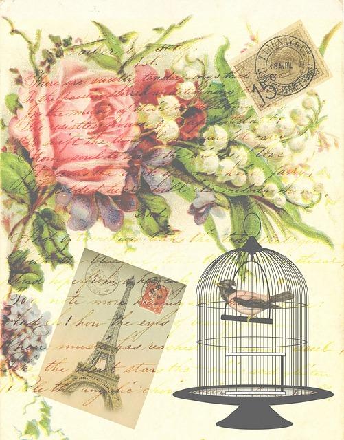 Vintage, Victorian, Bird, Birdcage, Flowers