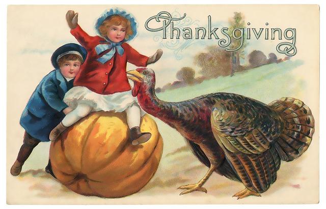 Vintage, Thanksgiving, Postcard, Victorian, Old, Turkey