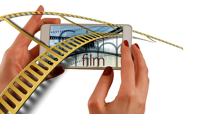 Hands, Smartphone, Cinema Strip, Movie, Film, Video