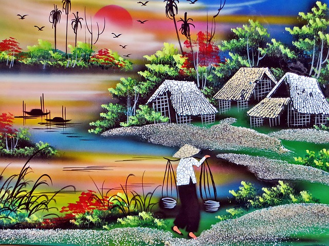 Viet Nam, Saigon, Painting, Lacquer, Decoration, Table
