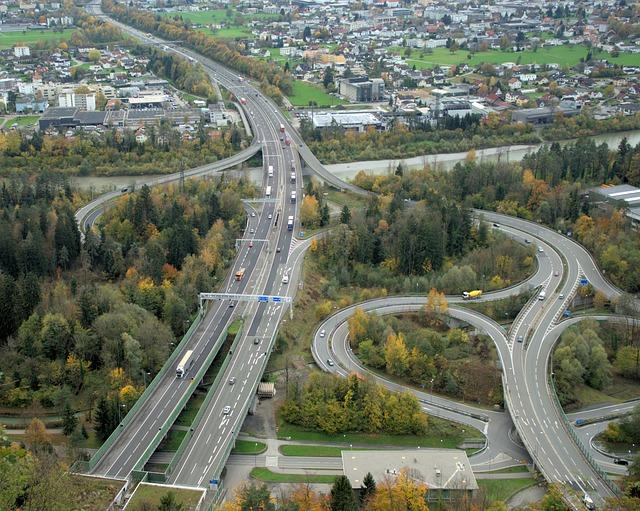 Bregenz, Outlook, Highway, Junction, View, Vehicles