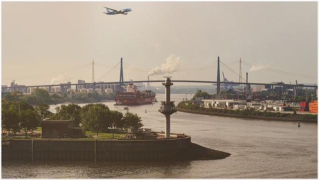 Hamburg, View, Bridge, Water, City, Port, Elbe, River