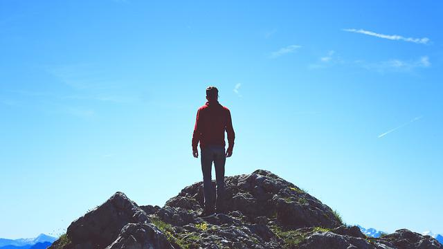 Human, Rock, Stand, View, Mountains, Sky, Nature