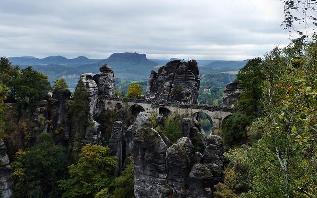 View Of The Basteibrücke, Saxon Switzerland, Landscape