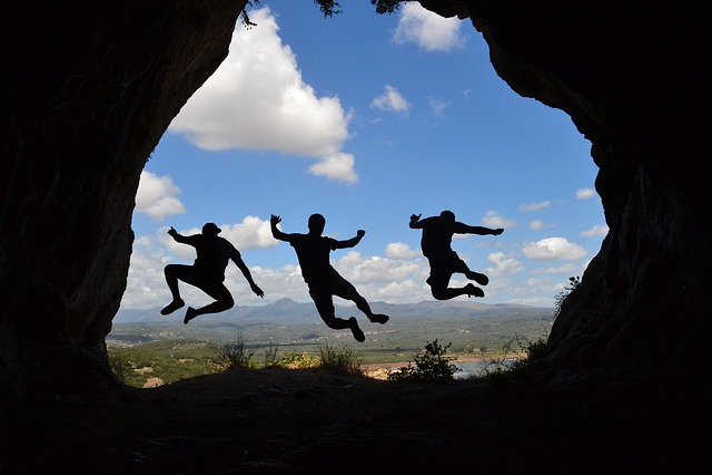 Shadow, Jump, Friendship, Vigor, View, Greece