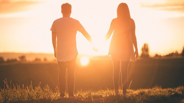 People, Man, Woman, Holding Hands, Sunset, View