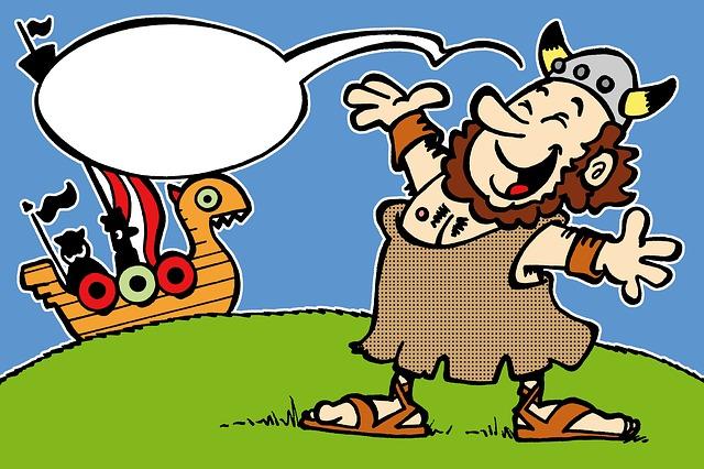 Viking, Smiling, Boat, Empty Text Balloon, Helmet