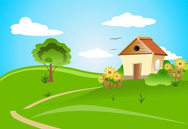House, Architecture, Design, Field, Village, Flowers