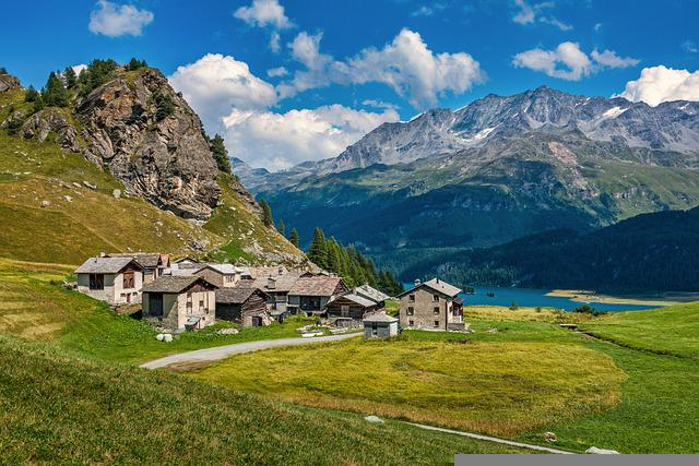 Alps, Village, Fields, Houses, Town, Valley, Mountains