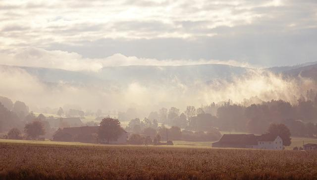 Fog, Morning, Mountains, Field, Village, Autumn, Home