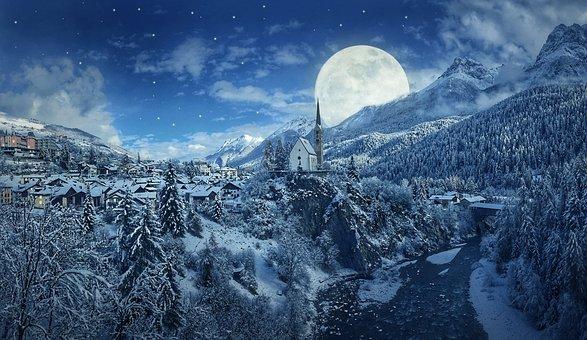 Winter, Night, Snow, Mountains, Moon, Village, Church