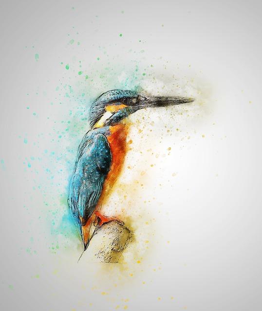 Bird, Kingfisher, Feathers, Art, Abstract, Vintage