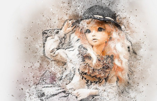 Doll, Art, Abstract, Vintage, Girl, Watercolor, Beauty