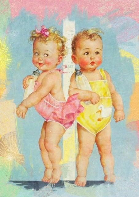 Babies, Collage, Vintage, Twins, Baby, Bottle, Nursing