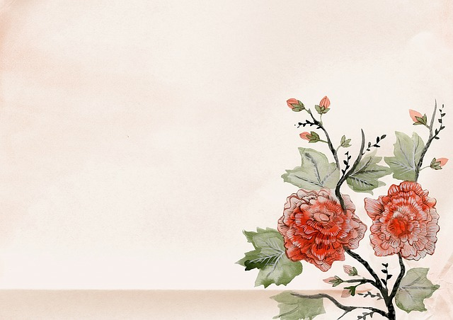 Vintage, Background, Japan, Flower, Rose, Old