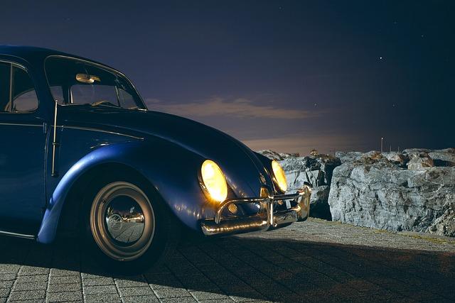 Car, Classic, Headlights, Night, Vehicle, Vintage