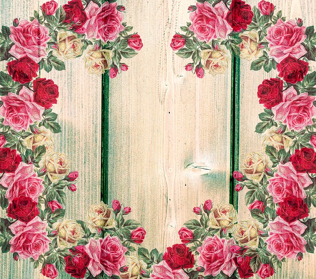 Roses, Vintage, Country House Style, On Wood, Romantic