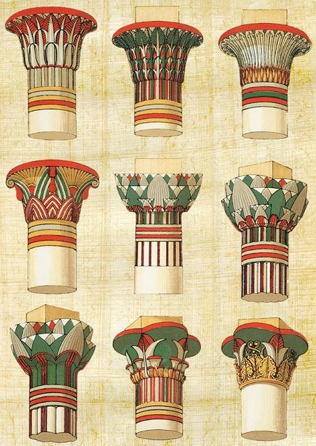 Egyptian, Architecture, Column, Vintage, Decoration