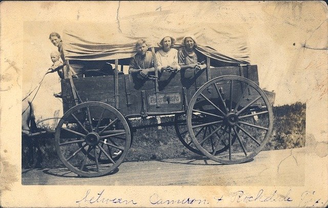 Vintage, Covered Wagon, Family, Migrate, Ancestors