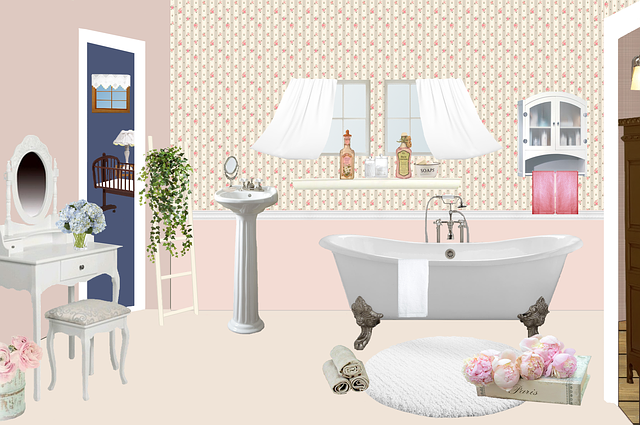 Bathroom, Bath, Antique, Rug, Vintage, Hairdresser