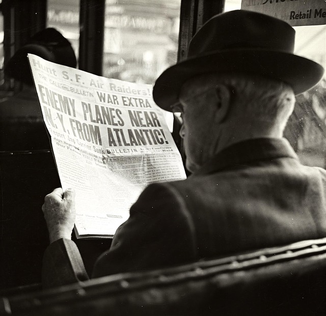 Man, Newspaper, Hat, Bus, Reading, Vintage, Photo