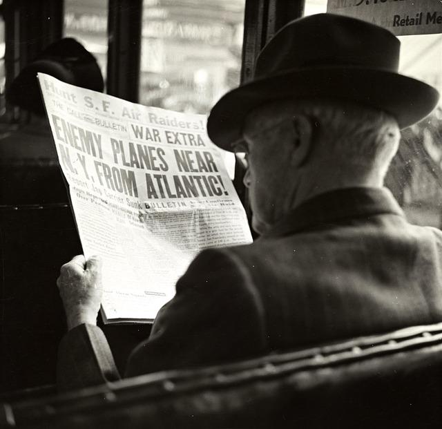 Man, Newspaper, Hat, Bus, Reading, Vintage, Photo