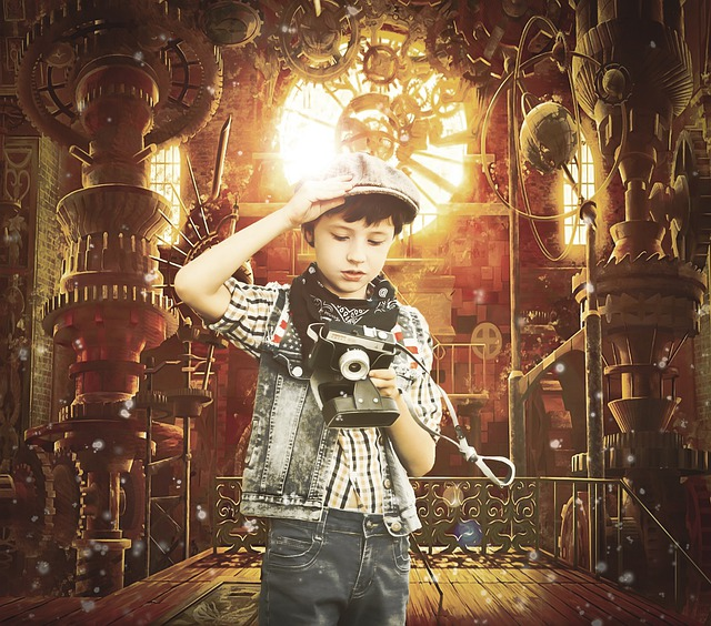 Steampunk, Boy, Photographer, Quest, Kids, Vintage