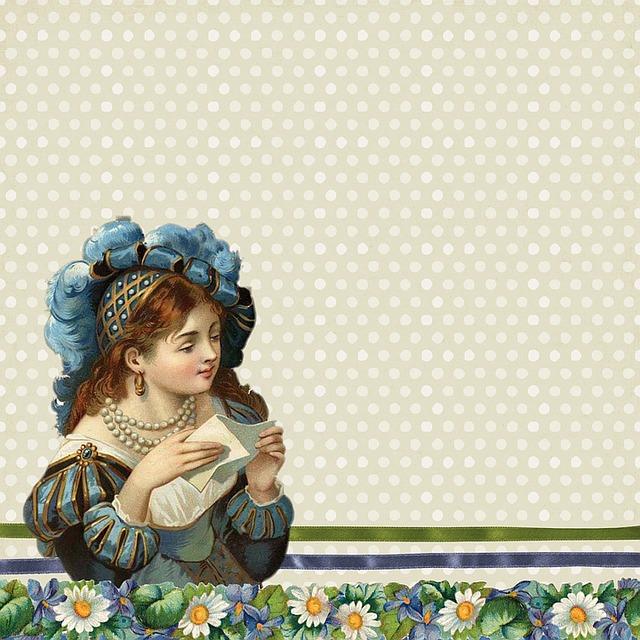 Vintage, Victorian, Background, Blue, Woman, Lady