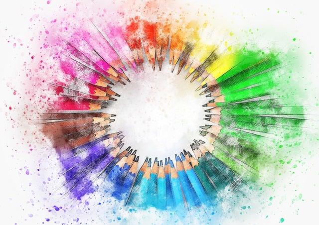 Pencil, Color, Art, Abstract, Watercolor, Vintage