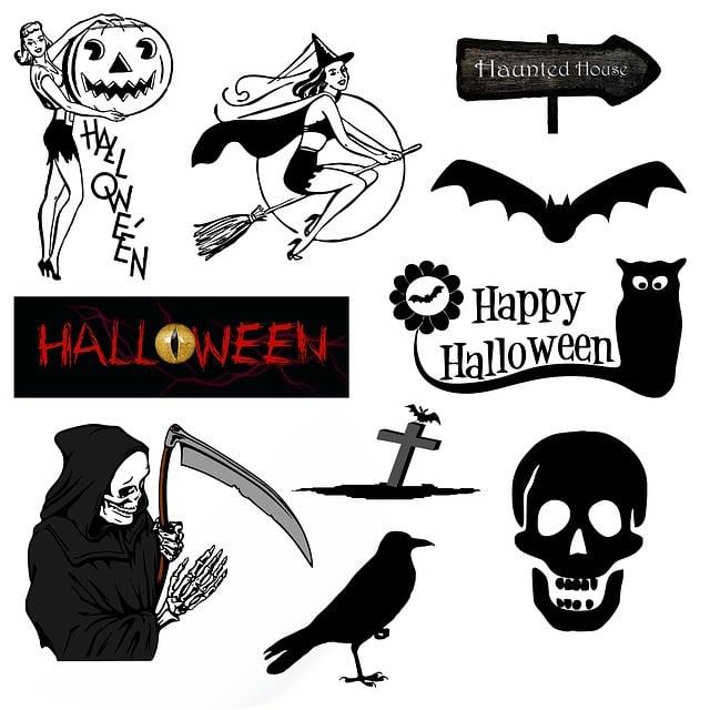 Halloween, Icons, Symbols, Vintage, Retro, Black