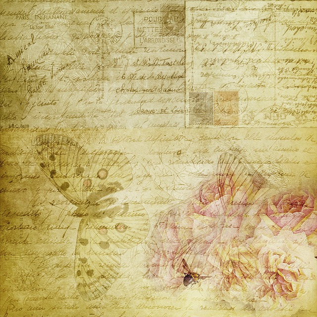 Texture, Scrapbook, Vintage, Letters, Butterfly
