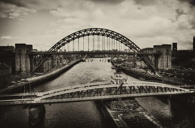 Old, Vintage Sepia, Tyne, Bridge, Swing Bridge, Retro