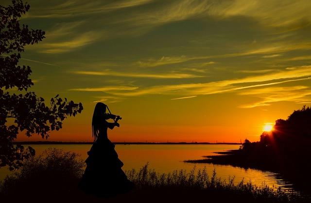 Violinist, Sunset, Violin, Woman, Adult, Classic