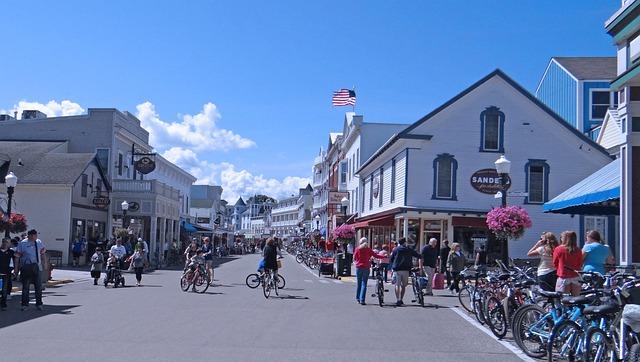 Mackinac Island, Street, Visitors, Island, Sky, Blue