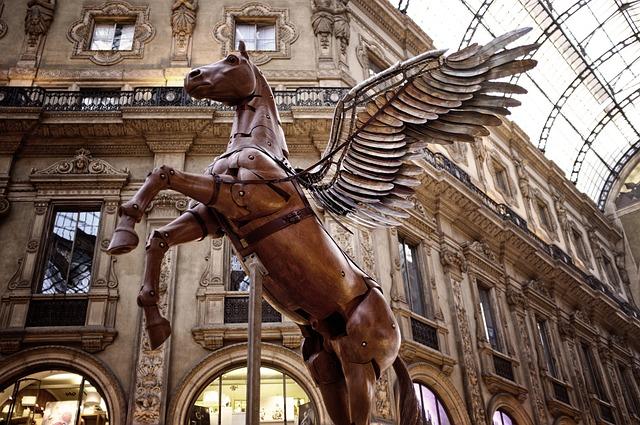 Milan, Pegasus, Gallery, Statue, Vittorio Emanuele Ii