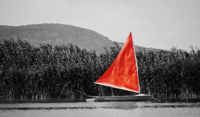Ship, Black, White, Red, Viz, Lake Balaton