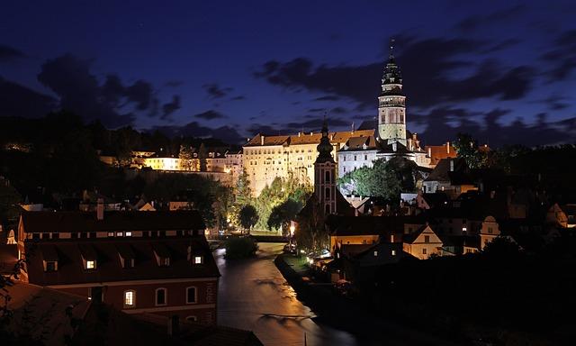 Czech Krumlov, Night, Castle, Vltava
