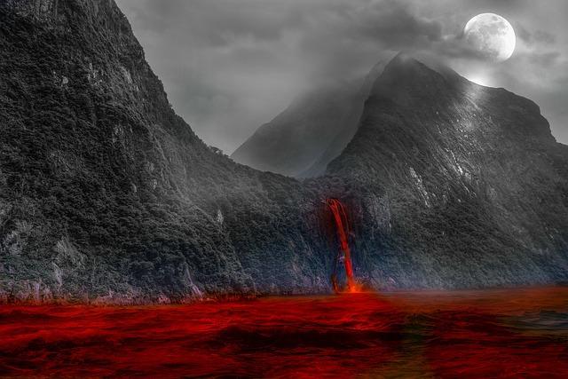 Volcanic Lake, Volcano, Larva, Flow, Mountain, Moon