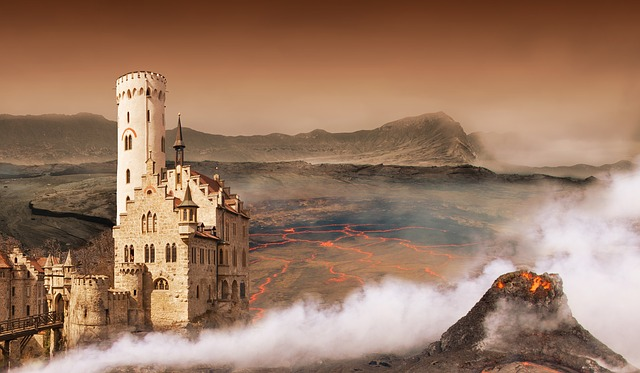 Fantasy, Landscape, Digital, Composite, Volcano, Castle