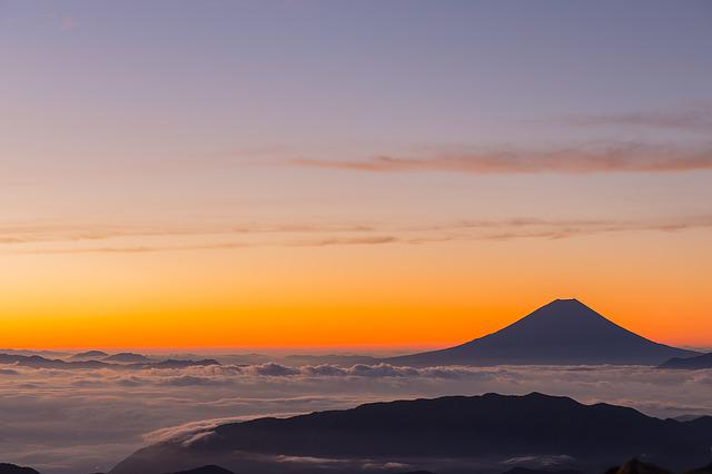 Mount Fuji, Volcano, Clouds, Sunrise, Sea Of Clouds