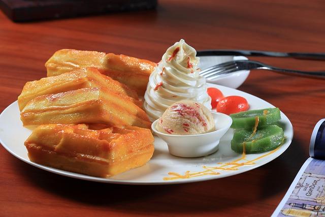 Afternoon Tea, Waffles, Ice Cream, Dessert