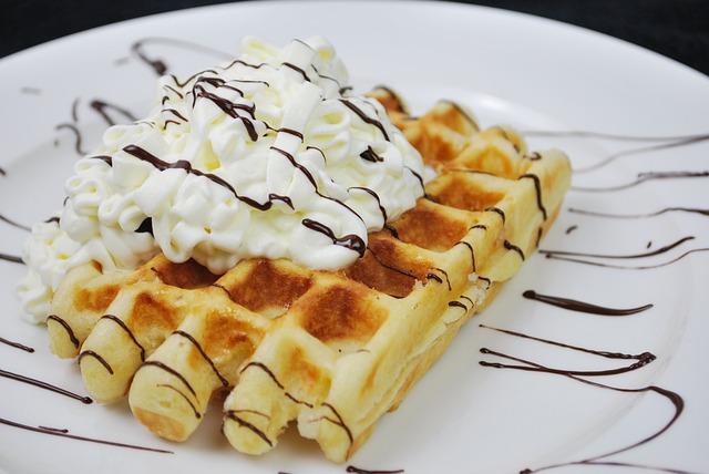 Waffles, Waffle, Waffle Plate, Cream, Waffle And Cream