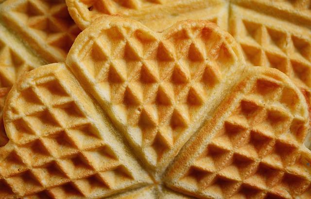 Waffles, Waffle Heart, Cake, Pastries, Sweet Food, Bake