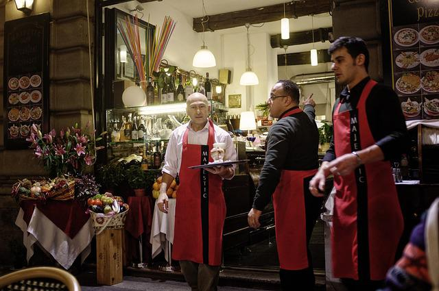 Outdoor Café, Waiters, Milan, Italy