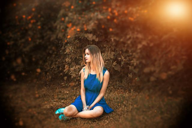 Girl, Nature, Waiting, Blue, Dress, Summer, Outdoor